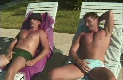 Poolside Muscle Men Threesome