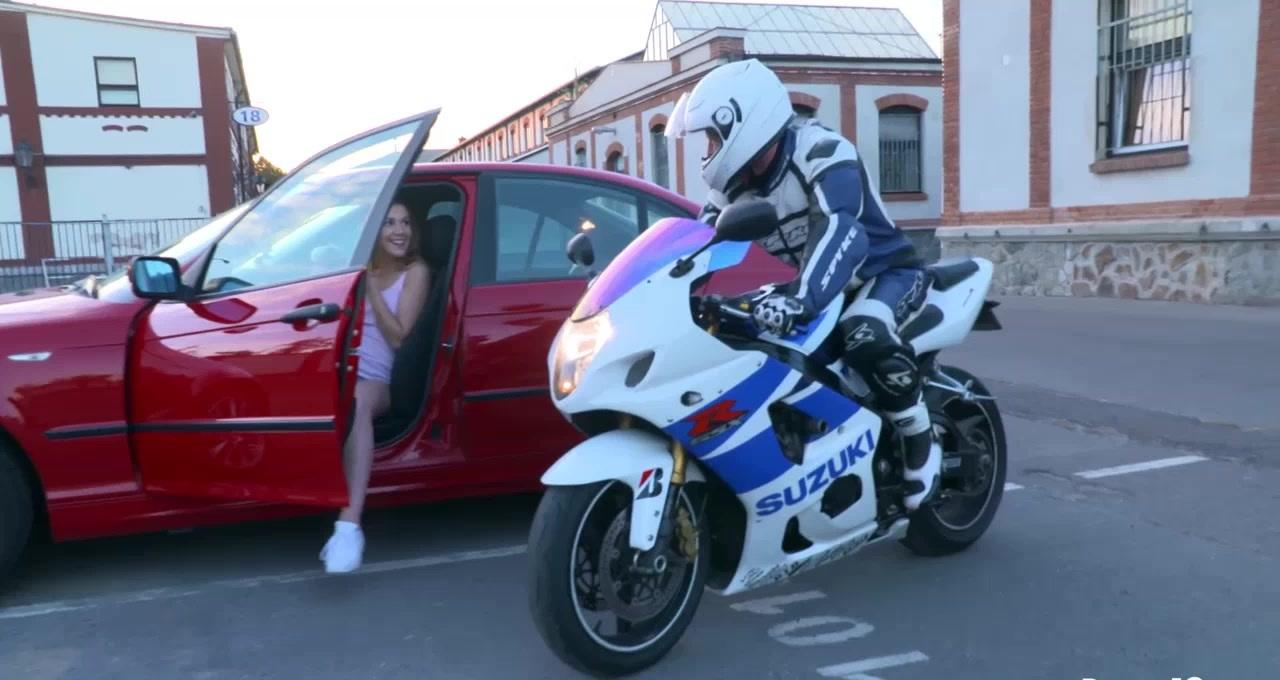 Stunning biker's girlfriend Alexis Crystal enjoys a fat dick after the ride