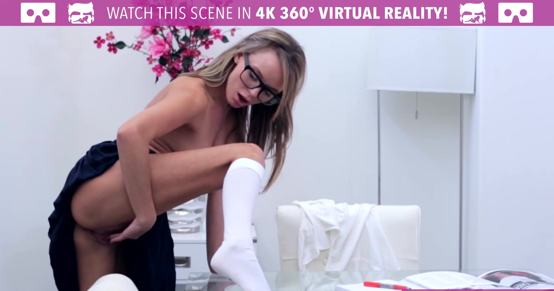 VR Bangers - HORNY Pristine Edge touching her PUSSY while studying