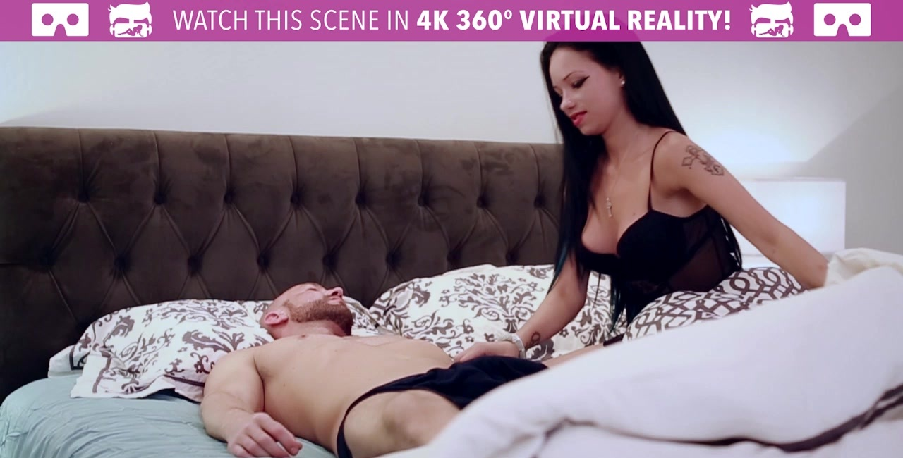 VR Bangers - Busty LATINA Raven Bay wakes up to a HUGE DICK and CUMS LOUD