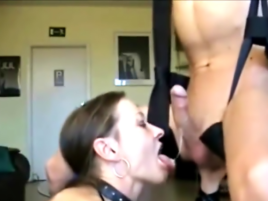 Hardcore chick blows his dick and fingers his asshole