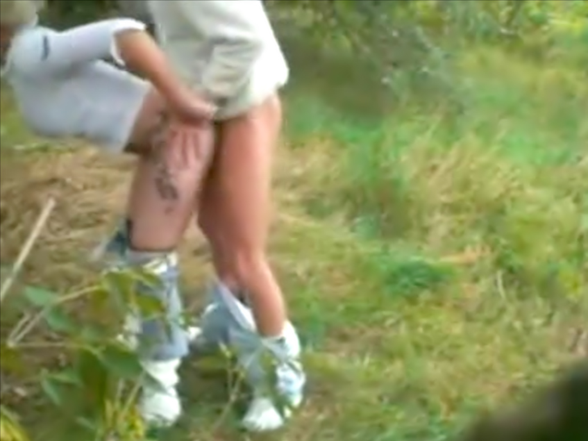 Horny couple having sex outdoors