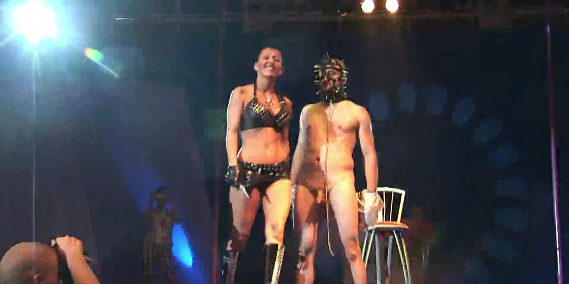 crazy fetish needle show on stage