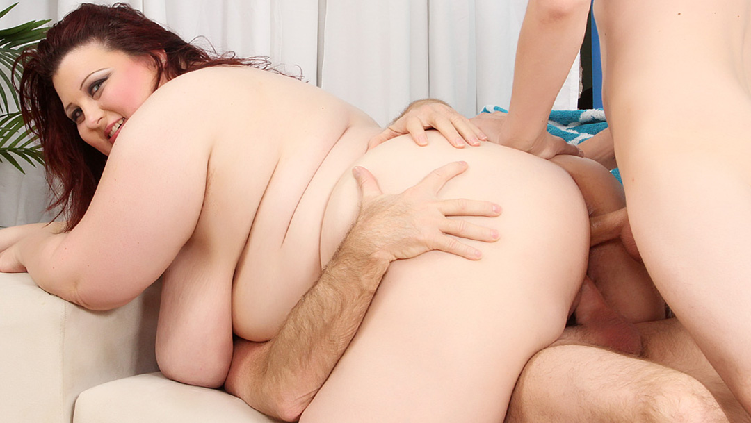 Plumper Stazi takes two dicks