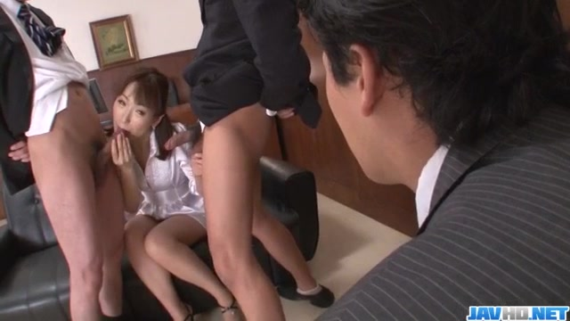 Nonoka Kaede, Asian milf, deals two younger cocks