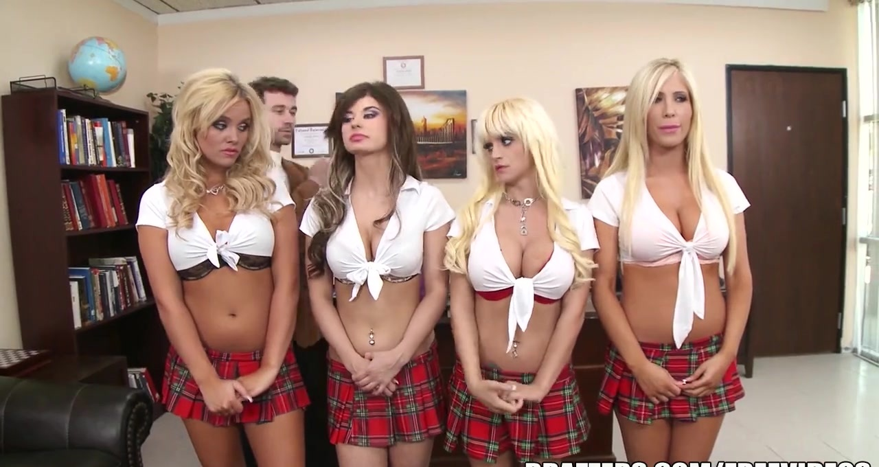 Four schoolgirls get chastised by