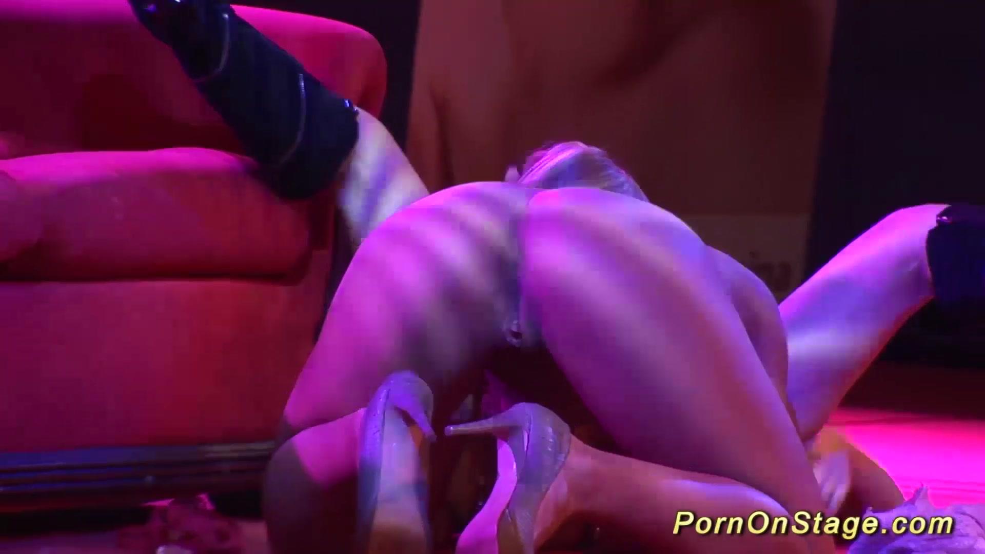 crazy lesbian sex show on public stage