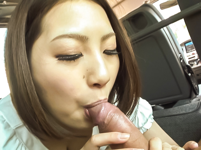 Ran Minami gets to suck cock while in a car