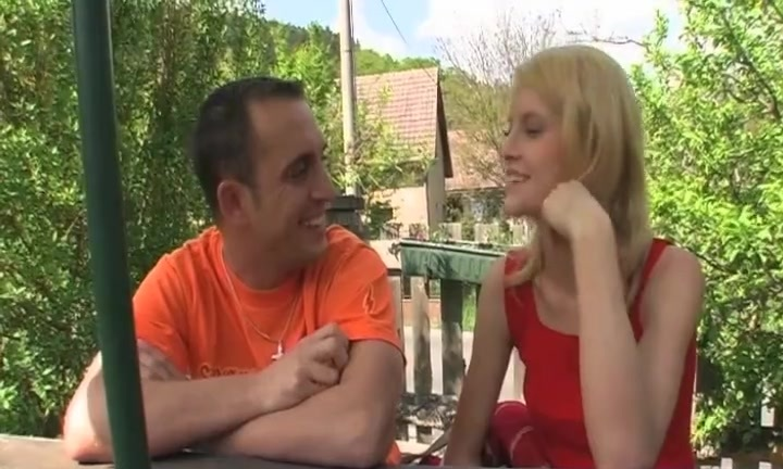 Skinny Blonde Teen loves the feel of her Step dad