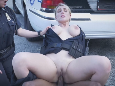 Dirty MILF officers riding black suspect on the street
