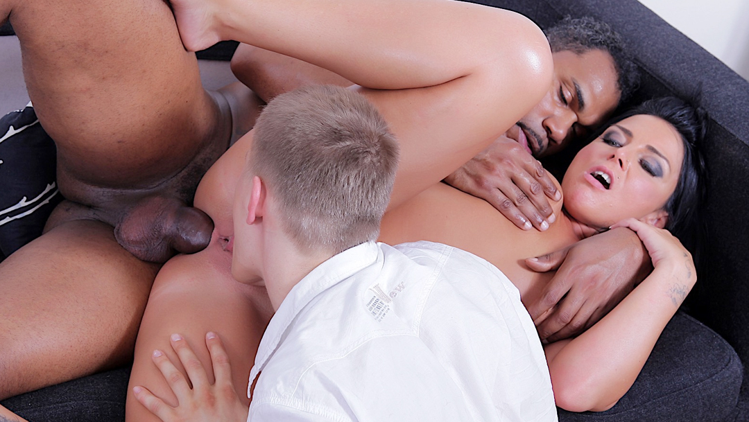 Brunette wife Tiffany takes large black cock in her ass