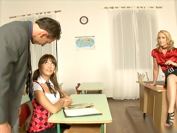 Schoolgirl facial after class