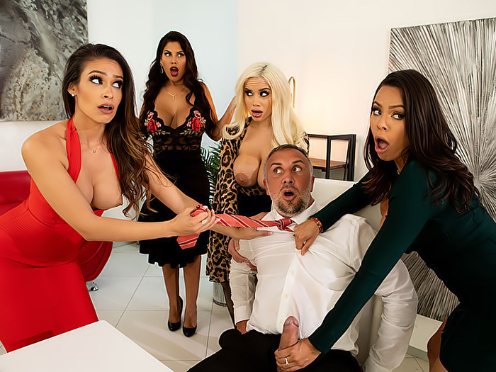 Brazzers – four Big Tit Latinas Fight for Keiran Lee's Big Cock