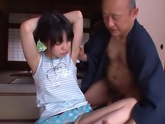 Pigtailed Japanese teen Marin Aon and old nasty dude