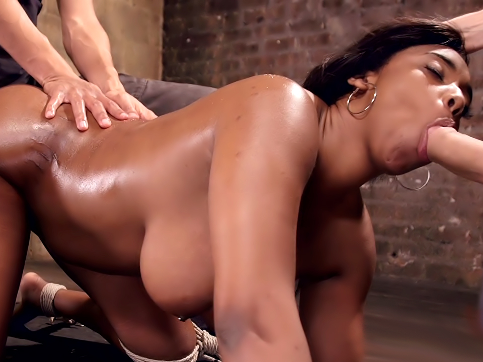 VOLUPTUOUS EBONY BABE IS TIED AND FUCKED WITH 2 MASSIVE COCKS!!