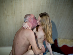 Young masseuse caresses old man with her magic pussy
