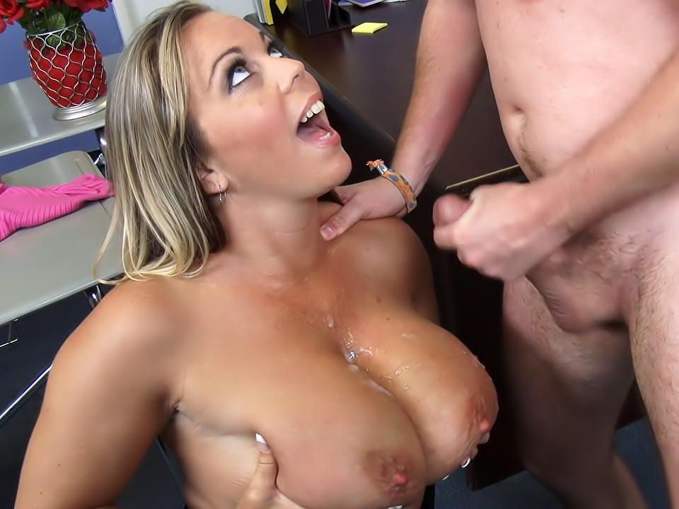 Rae lynn cum shot on her big tits 2