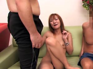Petite Japanese lady enjoys hot group sex