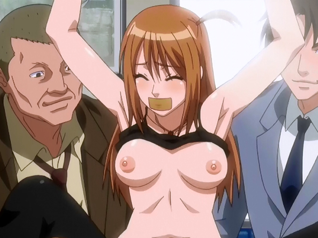 Gagged hentai babe gangbanged