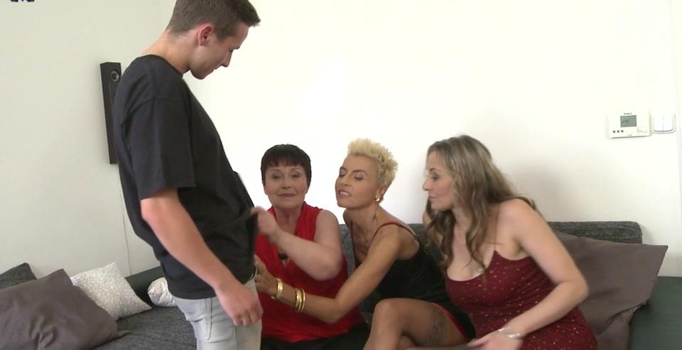 Three mature sluts share one hard cock in a foursome