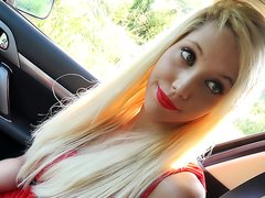 French Blonde in Red Lipstick