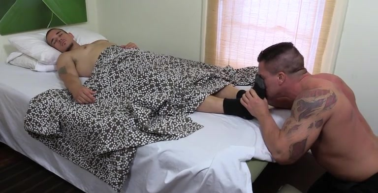 Adam Gives Braden A Footjob In His Sleep - Braden