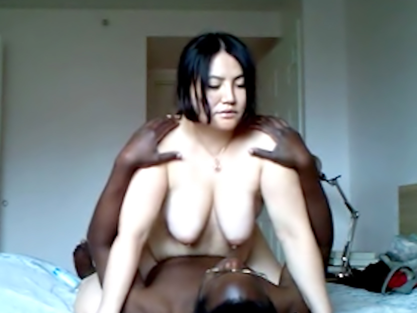 Fat wife riding black lover on camera