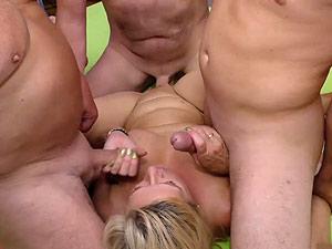 pierced busty stepmom in wild gangbang
