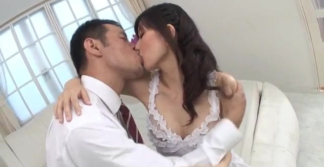 Manami Komukai blows and fucks in romantic scenes
