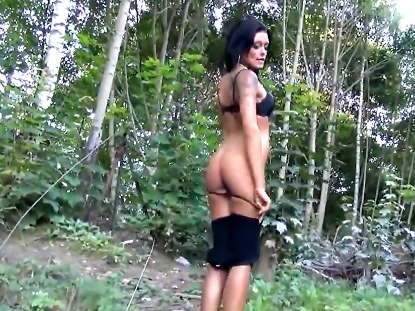 Cute girl is fucking in the forest