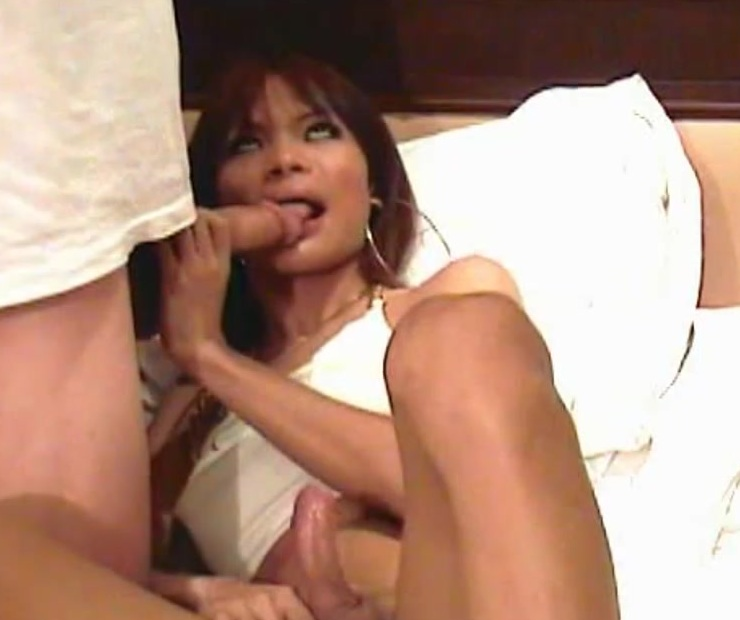 Ladyboy sucks huge cock before taking it in tight anal hole