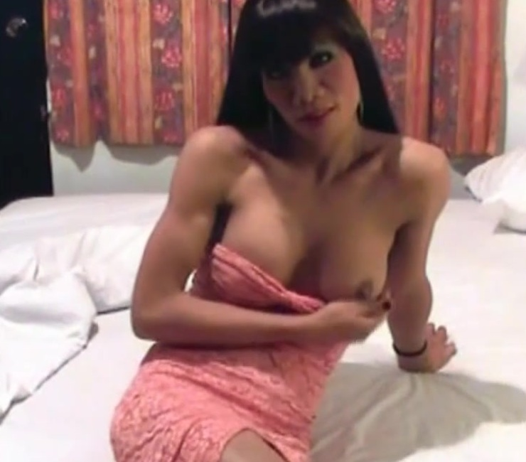 Ladyboy in pink dress does bigtits fucking and ass fingering