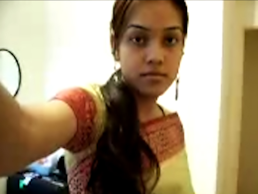 Cute Desi teen strips on cam