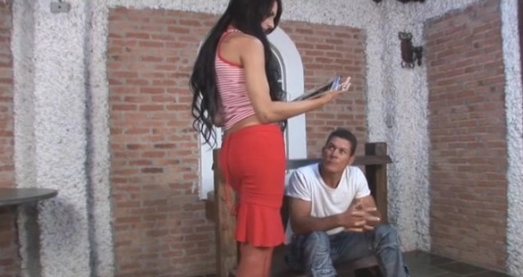 Viviane and Flavio shemale fucking dude on video