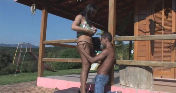 Bianca and Junior tranny fucks dude action