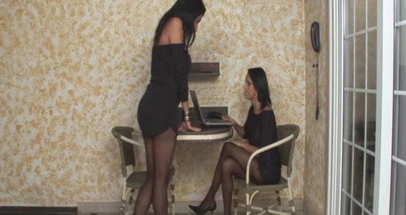 Lorena and Bruna shemale pantyhose sex action