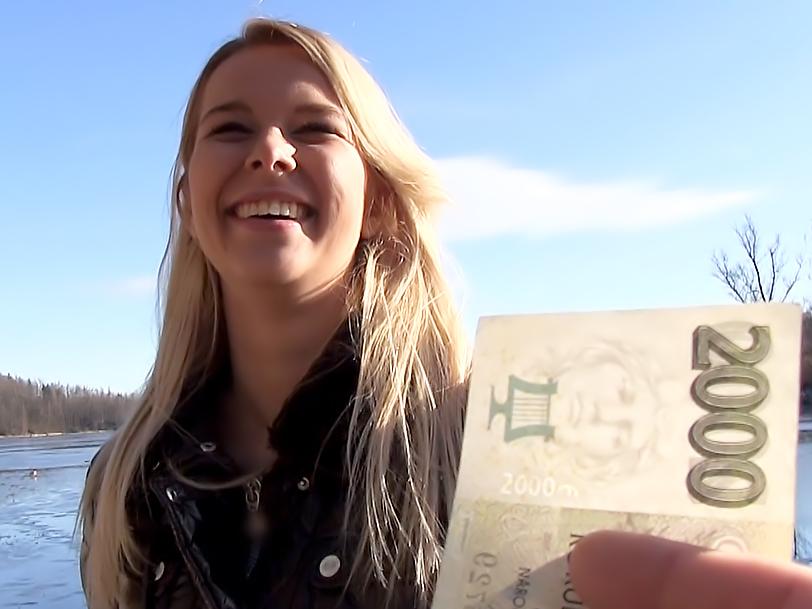 Euro Blonde Bangs Outdoors